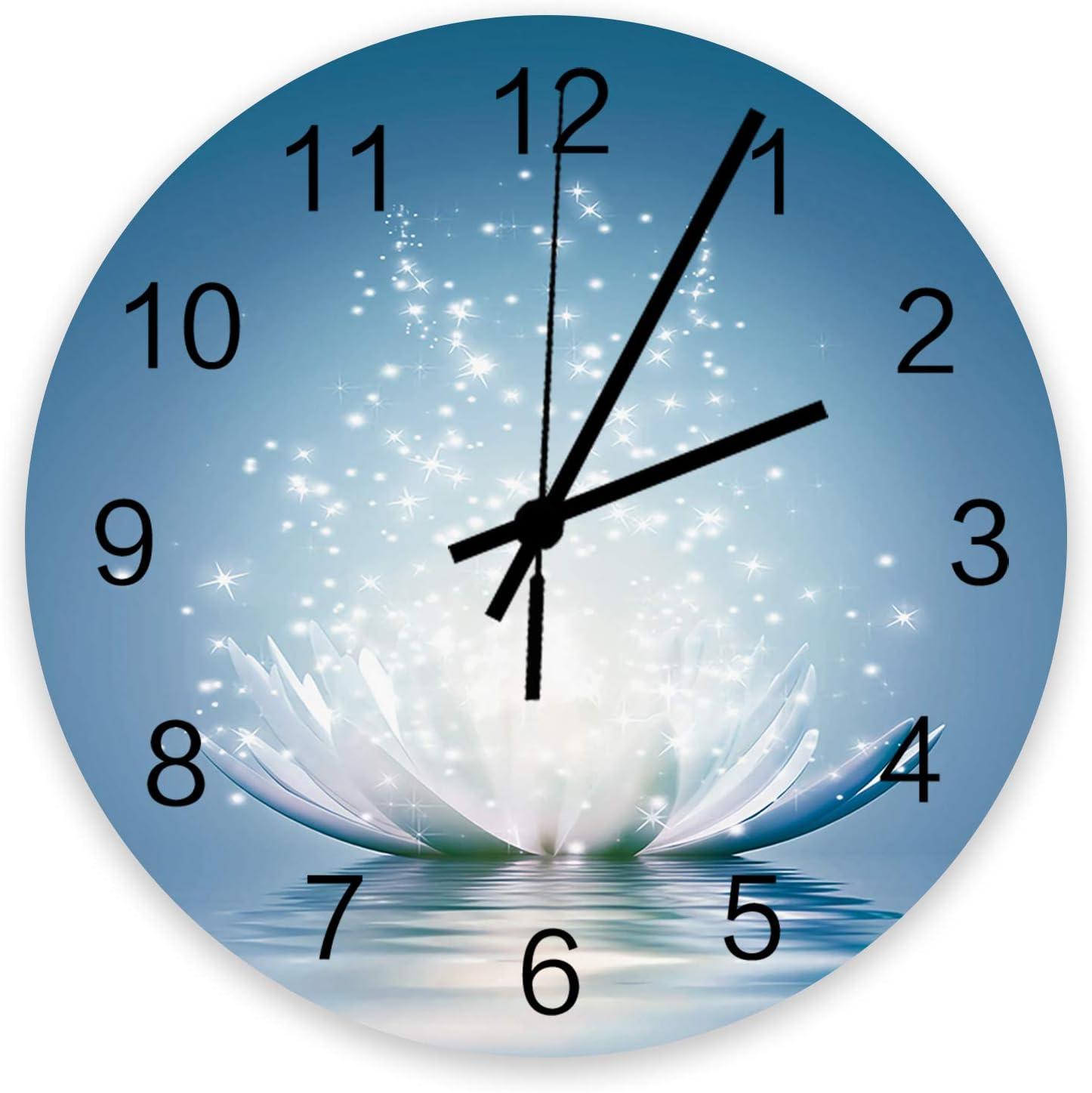 Wood Round Wall Ranking TOP11 Clock 12 Inch Silent Meditation Award Lotus N Glowing