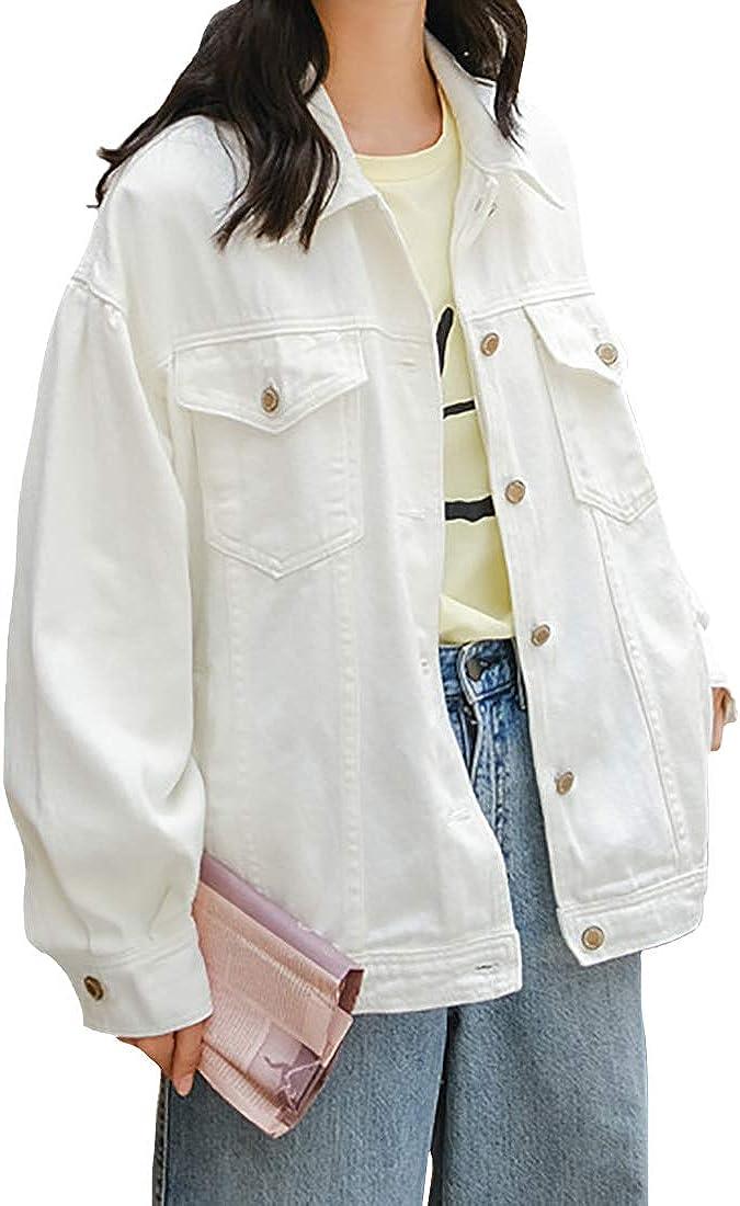 Inlefen Women's Denim Jacket Woman Girls Warm Retro Ripped Jean Jacket