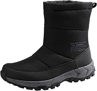 〓COOlCC〓Waterproof Snow Boot for Men,Side Zipper Cold Weather Boot Winter Mid-Calf Snow Boot Outdoor Athletic Ankle Boot