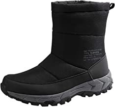〓COOlCCI〓Waterproof Snow Boot for Men,Side Zipper Cold Weather Boot Winter Mid-Calf Snow Boot Outdoor Athletic Ankle Boot