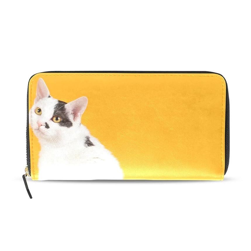 バイオリン設計具体的に旅立の店 長財布 人気 レディース メンズ 大容量多機能 二つ折り ラウンドファスナー PUレザー 2匹の猫柄 黒と白 オレンジ色 ウォレット ブラック