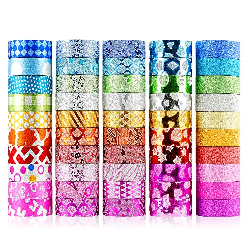 Trotinic Glitter Washi Tape,50 Rolls Decorative Tape for Arts and Crafts, Scrapbook,DIY,Gift Wrapping,Party Supplies, Multi-Purpose with Colorful Designs and Patterns