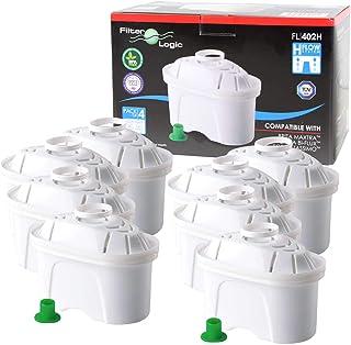 FilterLogic FL402H | Lot de 8 - Cartouche filtrante compatible avec Brita Maxtra Filtre à eau pour Carafe fill&enjoy Marel...
