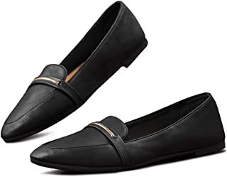 Obtaom Womens Flats Loafers for Women Pointed Toe Comfortable Leather Black Loafers