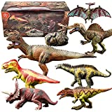Dinosaur Model Toy Set of Realistic Jurassic World Dinosaur Toy Set with Tyrannosaurus, Spinosaurus, Amagasaurus, Acrocanthosaurus, Allosaurus, Triceratops, and Pterosauria for Children Aged 3-12