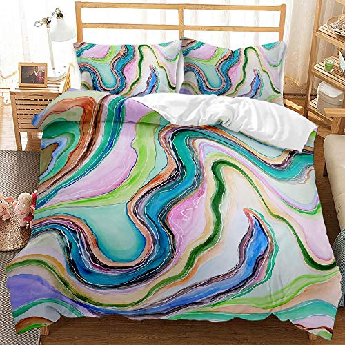 kxry Watercolor Marble Duvet Cover Set Modern Art Abstract Printed Bedding Sets for Girls Kids Teens 1 Duvet Cover + 2 Pillow Shams Queen Size