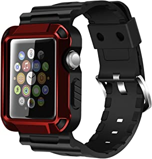 iiteeology Replacement for 38mm Rugged Protective iWatch Case and Band with Built-in Screen Protector Compatible with Apple Watch Series 3/2/1 (Red)