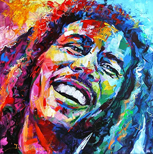KVAQ 5D knutselen diamant schilderij kruissteek Bob Marley 3D mozaïek rond hars diamant borduurwerk huis decoratie (11.8x15.8inch)