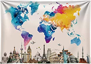 Funnytree 7X5FT Durable Fabric World Travel Map Monuments Colorful Photography Backdrop Welcome Adventure Awaits The Places You'll Go for Kids Wedding Banner Room Party Cake Table Decoration