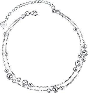 أساور ذات طبقات من الفضة الإسترلينية 925 نجمة/قلب/خرز أساور للنساء أساور قابلة للتعديل