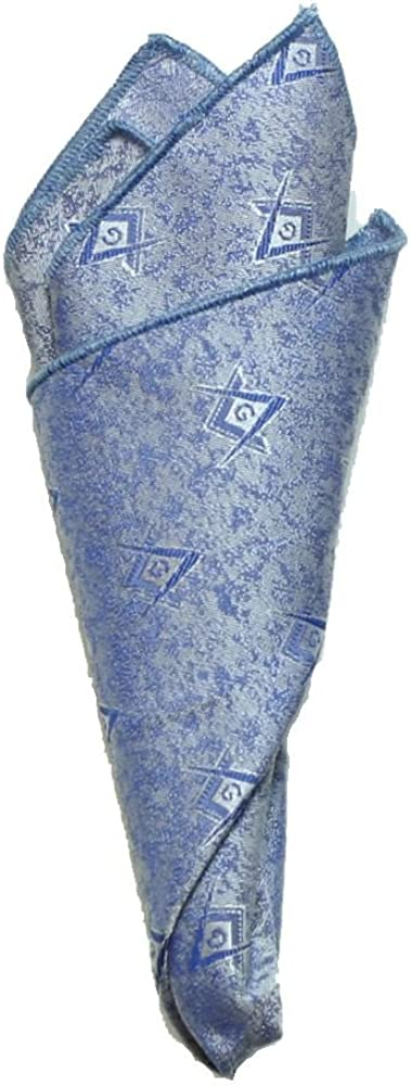 Masonic Pocket Square Light Blue Brocade Fabric Square and Compasses Woven In