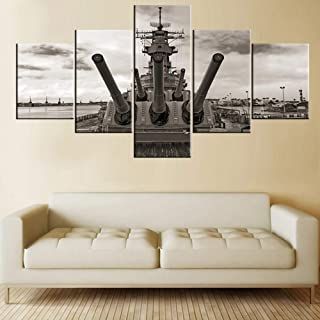 5 Panel Wall Art Black and White Painting for Living Room American Historical Warship..