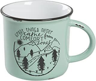 Natural Life Ceramic Camp Mug - Large, 16 oz, Cute Camping Cup With Handle for Your Coffee, Tea, Soup, Oatmeal, More (Great Things)