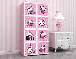KriShyam® 8 Door Plastic Sheet Wardrobe Storage Rack Closest Organizer for Clothes Kids Living Room Bedroom Small Accessor...