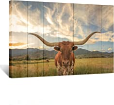 Kreative Arts - Large Modern Canvas Wall Art for Home and Office Decoration Animal Pictures Print Art on Canvas Texas Longhorn Canvas Prints Giclee Artwork for Wall (Wood Style 24x36inch)