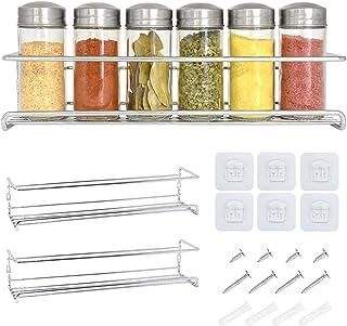 Étagère à épices et à herbes 2 étages - Rangement epices cuisine - Etagere a epices gris métallisé de qualité - Porte epic...