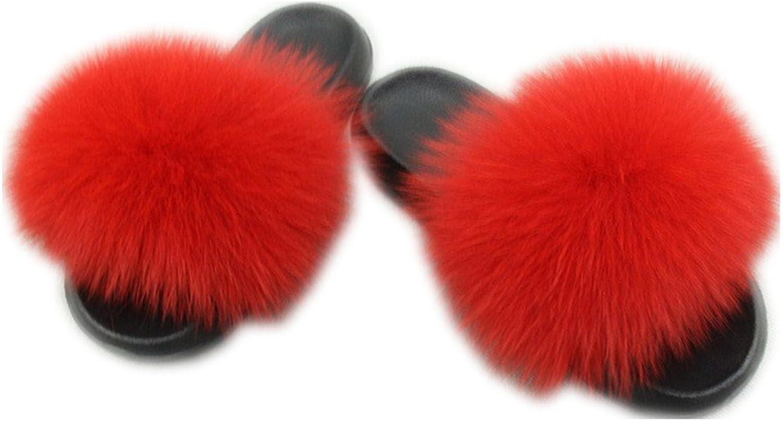 QMFUR Women's Flip Flop Fox Fur Soft Slide Flat Slipper (42-43, Red)