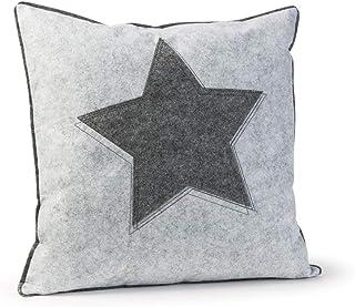luxdag Funda de cojín decorativa con diseño de estrella, de fieltro (1 unidad), color gris claro (color a elegir) | Funda con cremallera para cojines de 40 x 40 cm