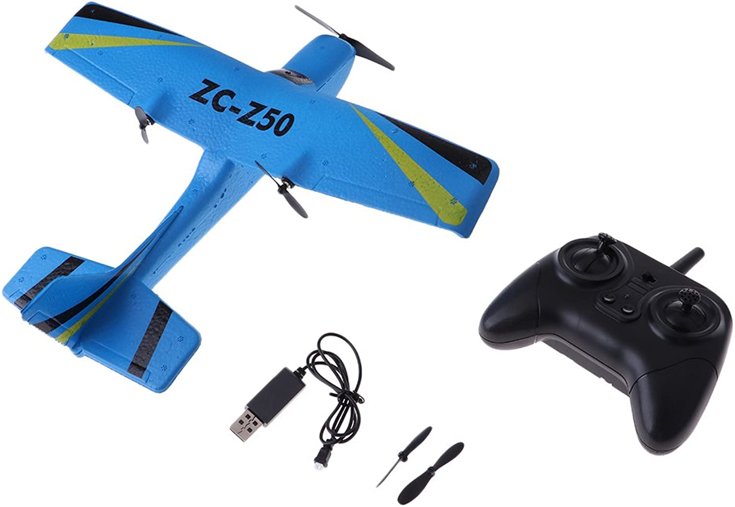D DOLITY Z50 EPP RC bluee Helicopter Plane Glider Airplane 2CH 2.4G with USB Charging Line
