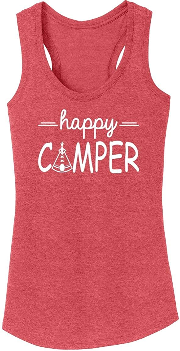 Comical Shirt Ladies Happy Camper Hiking Tri-B Cute Camping Challenge the lowest price of Japan Trip Popular brand