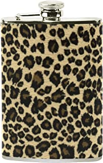 Steel Stainless Flask,Animal Leopard Print Design Leather Pocket Funnel with Screw Top,Liquor Alcohol Whiskey Classic Hip for Men,8 OZ