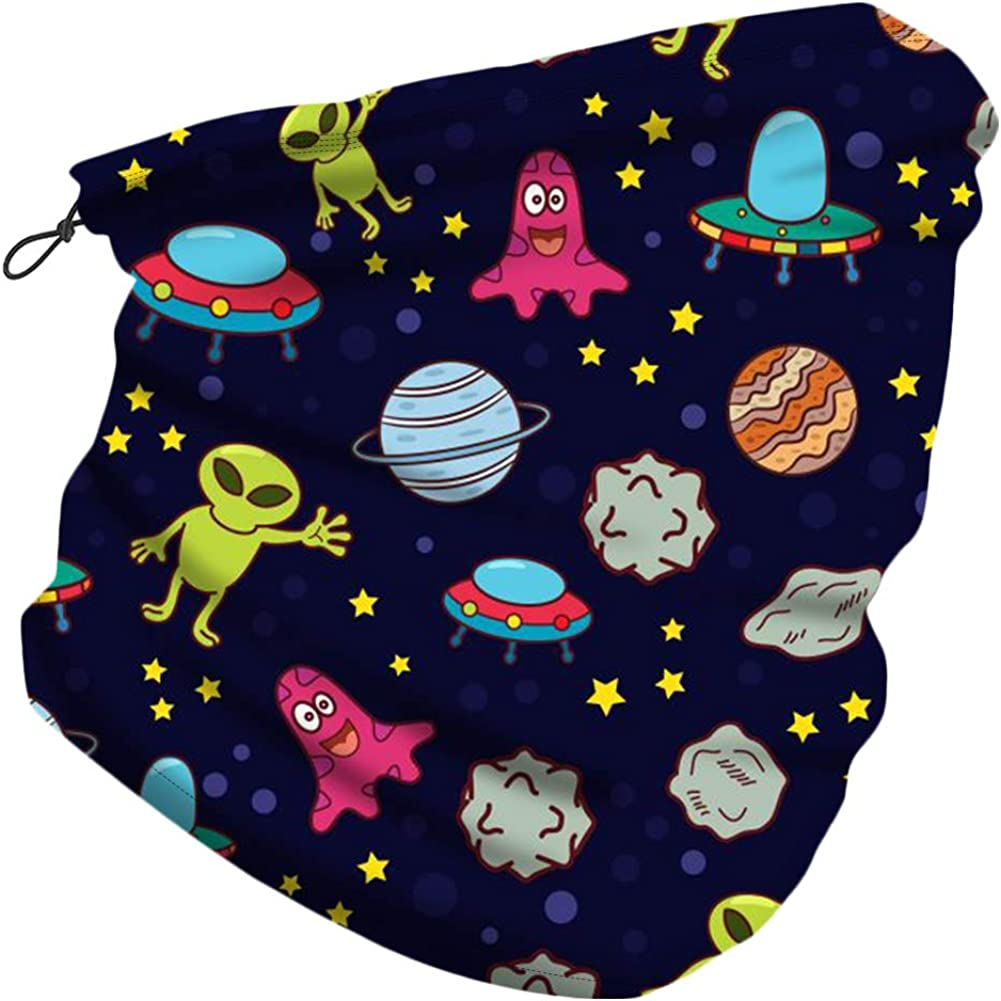 CHUANGLI Kids Neck Gaiter with Adjustable Drawstring Boys Girls Face Cover Scarf Tube Rave Bandana Balaclava for Outdoor