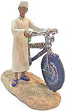 مي منحوتة صبي مع دراجة قديمة للمنزل - AL1373