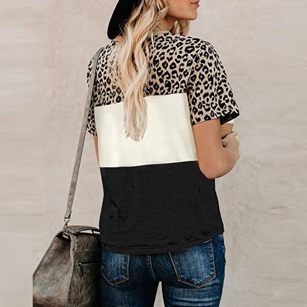 TOTOD Women Comfy Leopard Printed Stripe Short Sleeve T Shirt Color Block Loose Tunics Tops