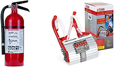 Kidde 21005779 Pro 210 Fire Extinguisher, ABC, 160CI, 4 lbs, 1 Pack & 468193 KL-2S Two-Story Fire Escape Ladder with Anti-...