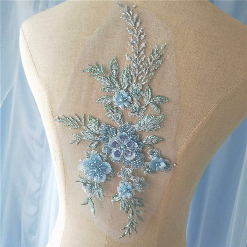 9 color 10pcs  3D flower blue bead pearl flower Lace Applique embroidery bodice applique for altering Super Luxury Bridal wedding applique