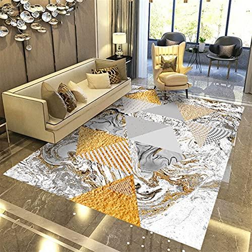MVAOHGN Estilo nórdico Moderno Simple Suede Alfombra Hogar Geométrico Impresión 3D Alfombra for Dormitorio Sala de Estar Cafetera (Color : MJ-14, Size : 80x120cm)