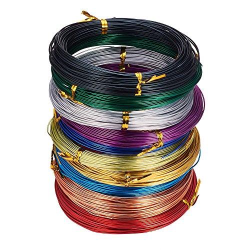PandaHall 10 rollos de alambre de aluminio de color calibre 20 flexible...