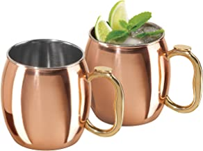 Oggi Moscow Mule Copper Plated Mugs (Set of 2), 20-Ounce