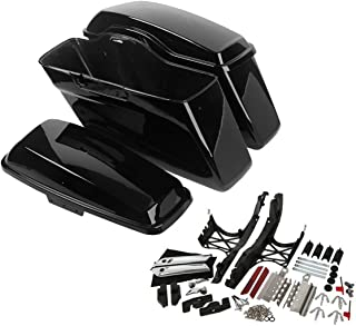 XFMT Hard Saddle Bags Saddlebags w/One Touch Latch Cover Key Compatible with 2014-2018 Touring Models FLT, FLHT, FLHTCU, FLHRC, Road King, Road Glide, Street Glide, Electra Glide, Ultra-Classi