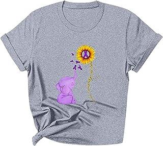 NOBRAND, Camiseta de manga corta para mujer, diseño de elefante y girasol con cuello redondo, ideal para verano, ideal para usar en el verano