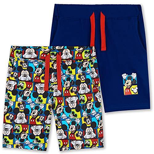Disney Pantaloncini Bambino, Pacco 2 Pantaloncini Corti di Topolino per Bimbo da 18 Mesi A 6 Anni, Bermuda Sportivi in Cotone (Blu/Multi, 18-24 Mesi)