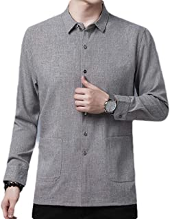 UUYUK Mens Business Solid Color Slim Fit Oxford Long Sleeve Button Front Shirts