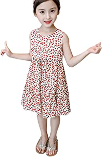 Weixinbuy Kid Baby Girl's A-line Swing Dress Floral Flower Sleeveless Wedding Party Summer Dresses