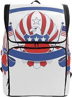 FANTAZIO - Mochila de viaje con bandera de águila americana, mochila para portátil, mochila de viaje, senderismo, camping, mochila informal grande para escuela