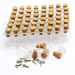 Healthcom 0.5ML Vials Clear Glass Bottles Mini Tiny Jars Bottles with Corks Miniature Glass Bottle with Cork Empty Sample ...