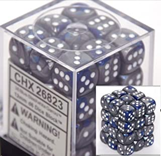 Chessex Dice d6 Sets: Gemini Blue & Steel with White - 12mm Six Sided Die (36) Block of Dice
