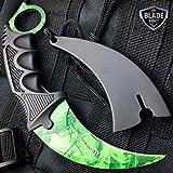 CSGO Green Gamma Fade Doppler Karambit Hawkbill Full Tang Neck Knife w/ABS Sheath (Limited Edition)