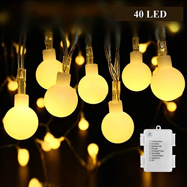 Battery Operated String Lights B Right Outdoor Fairy Lights 15ft 40 LEDs Waterproof Globe String Lights For Bedroom Patio Christmas Wedding Party Indoor And Outdoor Warm White 8 Modes Timer