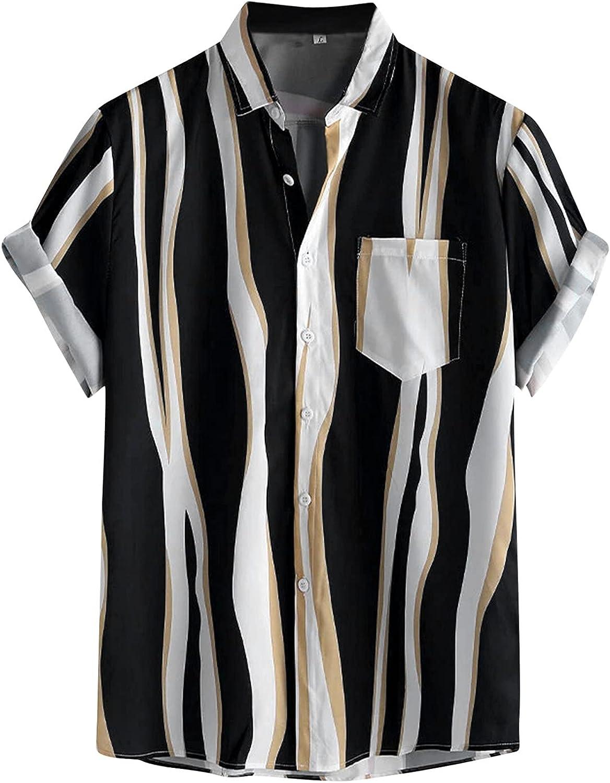 Xiloccer Men's Short Sleeve T Shirts Casual Fashion Print Tees Summer Beach Graphic Button Turn-Down Collar Shirt Blouse