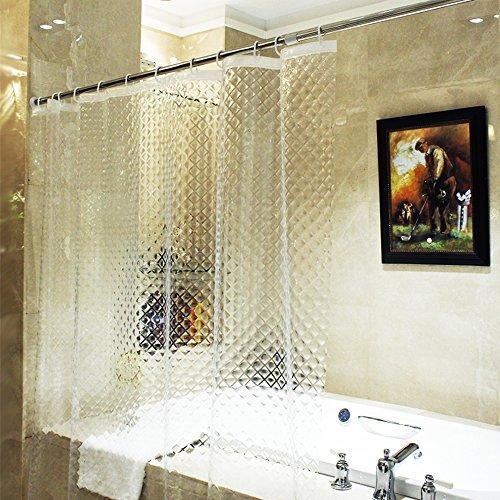ecooe Duschvorhänge 3D Wasserwürfel Duschvorhang Transparent 100prozent Eva-Material Wasserdicht Anti Schimmel, 180 x 200cm mit 12 Ringe Badvorhang für Badezimmer