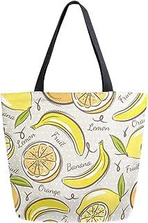 Mnsruu Mnsruu Handtasche aus Segeltuch, für Damen, mit Griff, Einkaufstasche, Bananen und Orangen, lässige Strandtasche, Multifunktionstasche für Damen