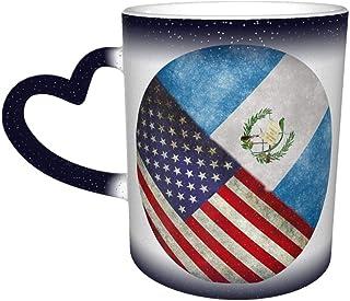 Retro America And Guatemalan Flag Color Changing Starry Sky Mug Heart Shaped Coffee Magic Mug