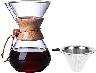 Kapokilly Cafetera, Mano De Vidrio Cafetera con Filtro De Vidrio De Alta Temperatura Taza De Cafetera De 400 Ml