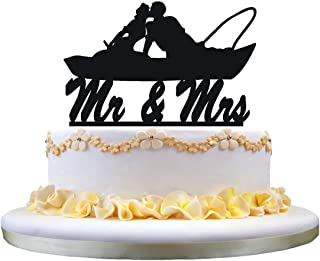 Fishing Couple in Boat Kissing - Mr. and Mrs. Wedding Cake Topper