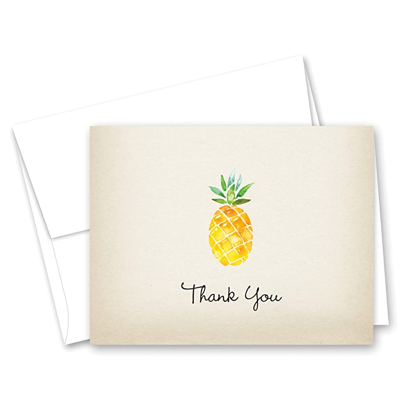 50 Rustic Watercolor Pineapple Thank You Cards + Envelopes